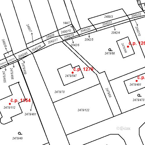 Katastrální mapa Stavební objekt Třemošná 1279, Třemošná