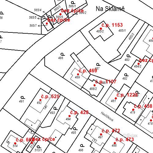 Katastrální mapa Stavební objekt Třemošná 469, Třemošná