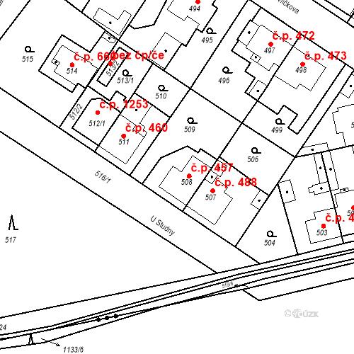 Katastrální mapa Stavební objekt Třemošná 457, Třemošná
