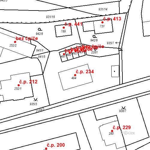 Katastrální mapa Stavební objekt Kašperské Hory 234, Kašperské Hory