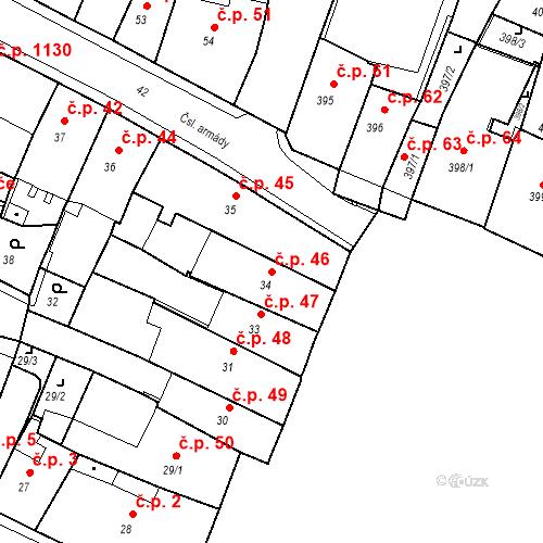 Katastrální mapa Stavební objekt Kadaň 46, Kadaň