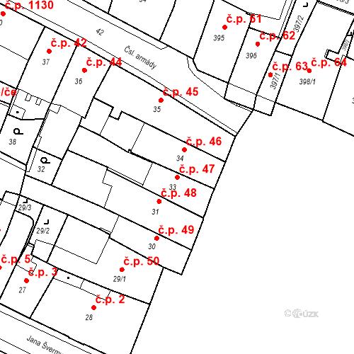Katastrální mapa Stavební objekt Kadaň 47, Kadaň