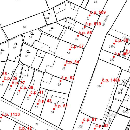 Katastrální mapa Stavební objekt Kadaň 54, Kadaň