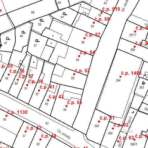 Katastrální mapa Stavební objekt Kadaň 52, Kadaň