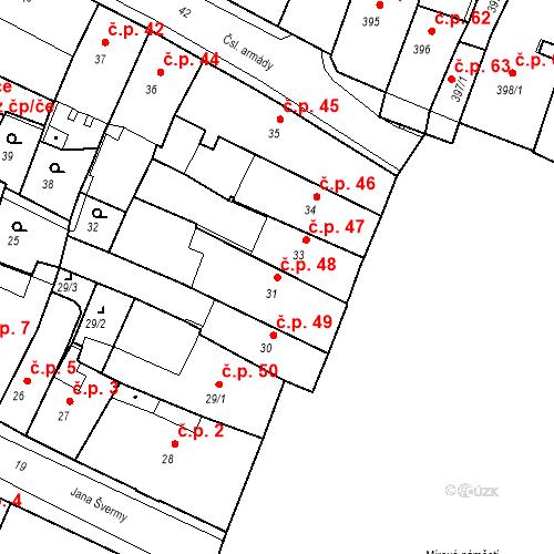 Katastrální mapa Stavební objekt Kadaň 48, Kadaň