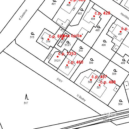 Katastrální mapa Stavební objekt Třemošná 460, Třemošná