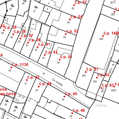 Katastrální mapa Stavební objekt Kadaň 51, Kadaň