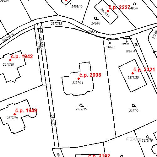Katastrální mapa Stavební objekt Bolevec 2008, Plzeň