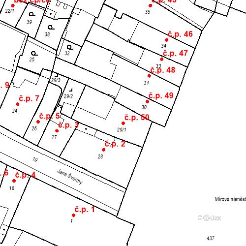 Katastrální mapa Stavební objekt Kadaň 50, Kadaň