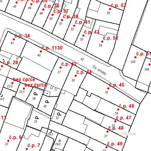 Katastrální mapa Stavební objekt Kadaň 44, Kadaň