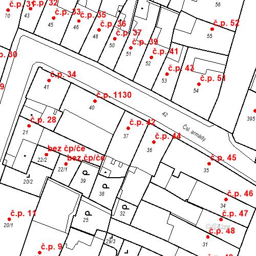 Katastrální mapa Stavební objekt Kadaň 42, Kadaň