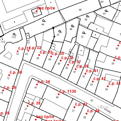 Katastrální mapa Stavební objekt Kadaň 36, Kadaň