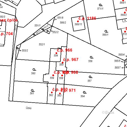 Katastrální mapa Stavební objekt Třemošná 967, Třemošná