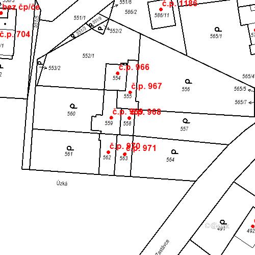 Katastrální mapa Stavební objekt Třemošná 968, Třemošná
