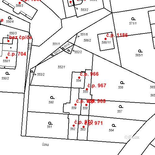 Katastrální mapa Stavební objekt Třemošná 966, Třemošná