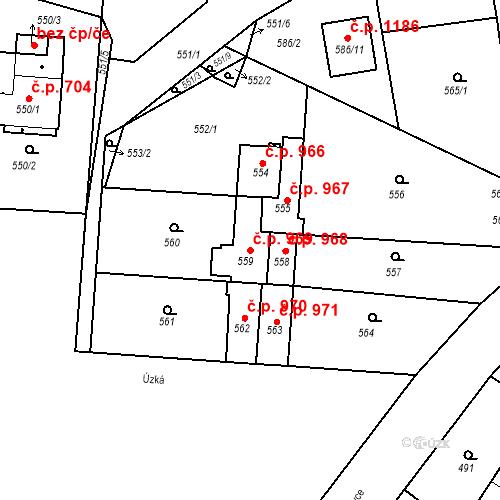 Katastrální mapa Stavební objekt Třemošná 969, Třemošná