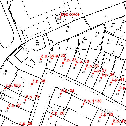 Katastrální mapa Stavební objekt Kadaň 33, Kadaň