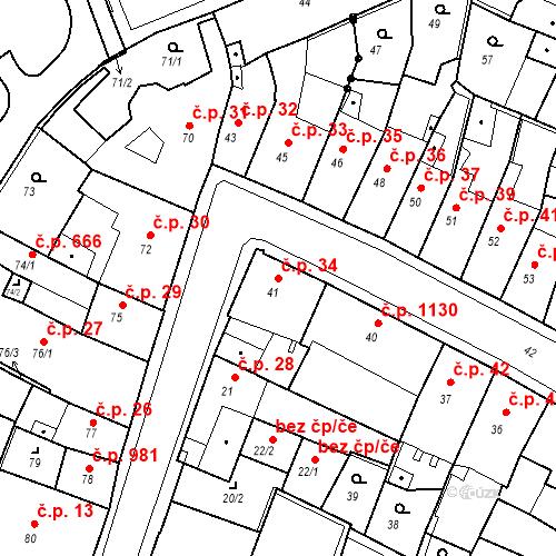 Katastrální mapa Stavební objekt Kadaň 34, Kadaň