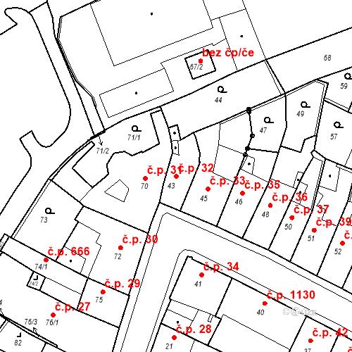 Katastrální mapa Stavební objekt Kadaň 32, Kadaň