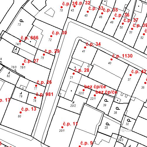 Katastrální mapa Stavební objekt Kadaň 28, Kadaň