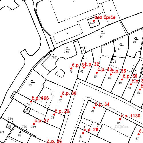 Katastrální mapa Stavební objekt Kadaň 31, Kadaň