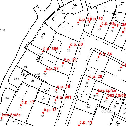 Katastrální mapa Stavební objekt Kadaň 29, Kadaň