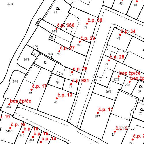 Katastrální mapa Stavební objekt Kadaň 26, Kadaň