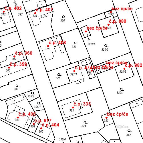 Katastrální mapa Stavební objekt Třemošná 474, Třemošná