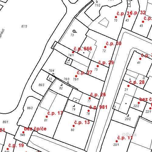 Katastrální mapa Stavební objekt Kadaň 27, Kadaň