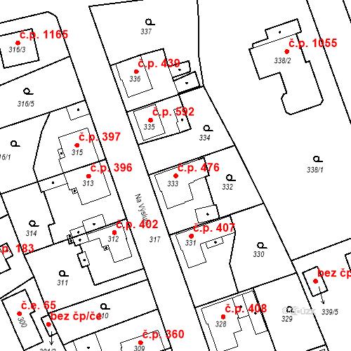 Katastrální mapa Stavební objekt Třemošná 476, Třemošná