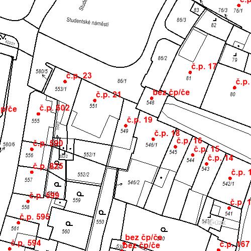 Katastrální mapa Stavební objekt Kadaň 19, Kadaň