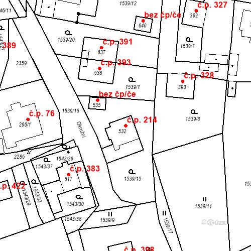Katastrální mapa Stavební objekt Kašperské Hory 214, Kašperské Hory