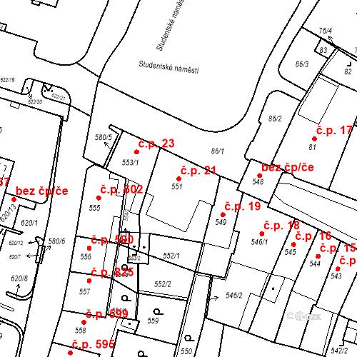 Katastrální mapa Stavební objekt Kadaň 21, Kadaň