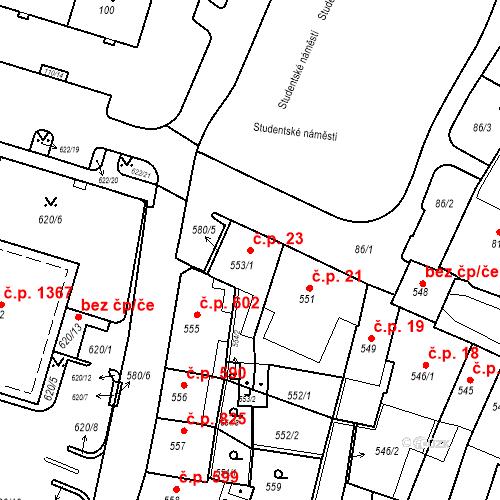Katastrální mapa Stavební objekt Kadaň 23, Kadaň