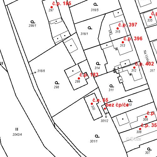Katastrální mapa Stavební objekt Třemošná 183, Třemošná