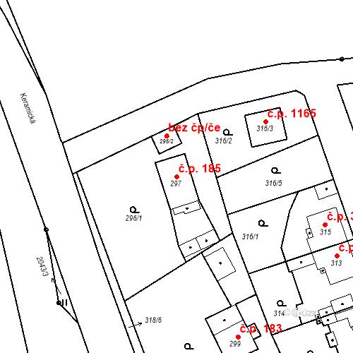 Katastrální mapa Stavební objekt Třemošná 185, Třemošná