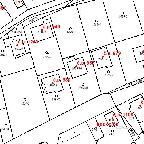 Katastrální mapa Stavební objekt Třemošná 953, Třemošná