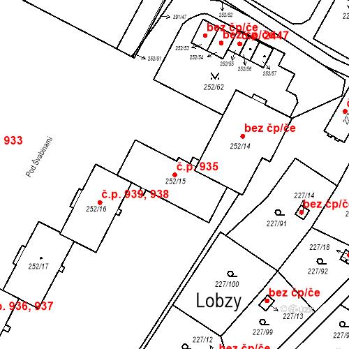 Katastrální mapa Stavební objekt Lobzy 935, Plzeň