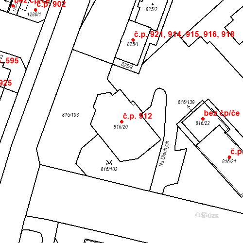 Katastrální mapa Stavební objekt Lobzy 912, Plzeň