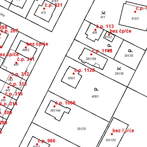 Katastrální mapa Stavební objekt Lobzy 1128, Plzeň