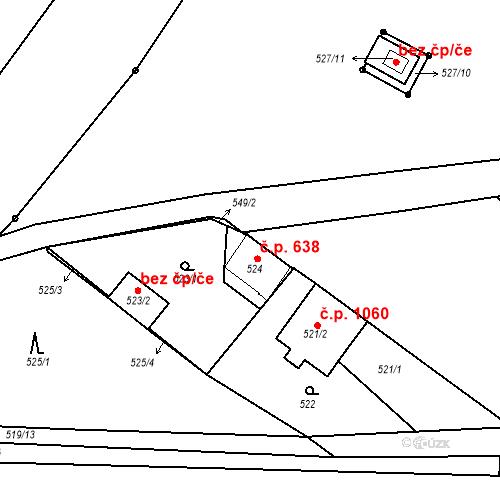 Katastrální mapa Stavební objekt Třemošná 638, Třemošná