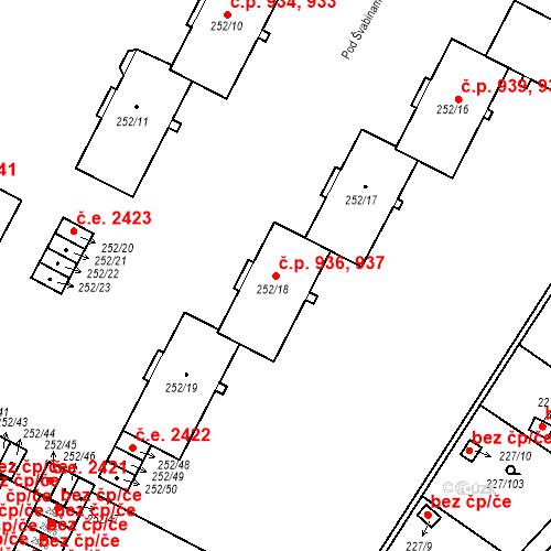 Katastrální mapa Stavební objekt Lobzy 936, 937, Plzeň