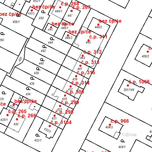Katastrální mapa Stavební objekt Lobzy 315, Plzeň