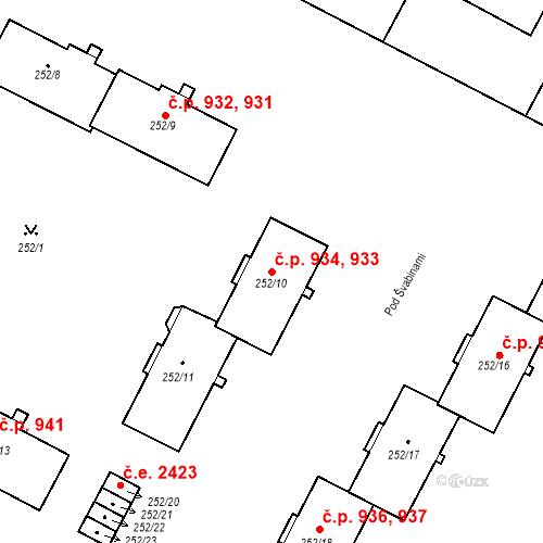 Katastrální mapa Stavební objekt Lobzy 933, 934, Plzeň