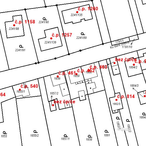 Katastrální mapa Stavební objekt Třemošná 462, Třemošná