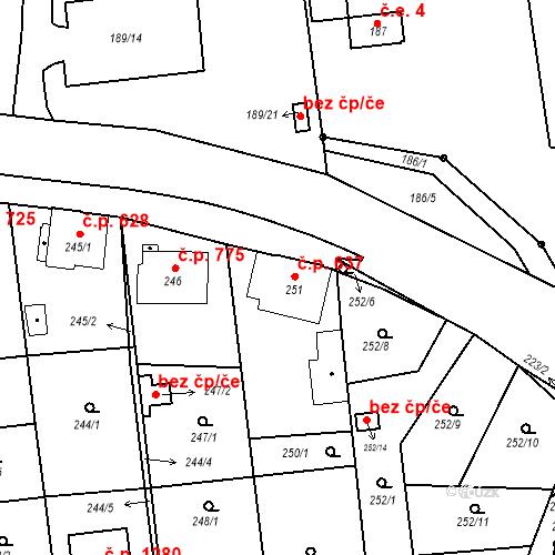 Katastrální mapa Stavební objekt Třemošná 637, Třemošná