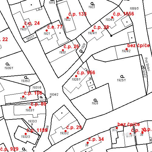 Katastrální mapa Stavební objekt Třemošná 956, Třemošná