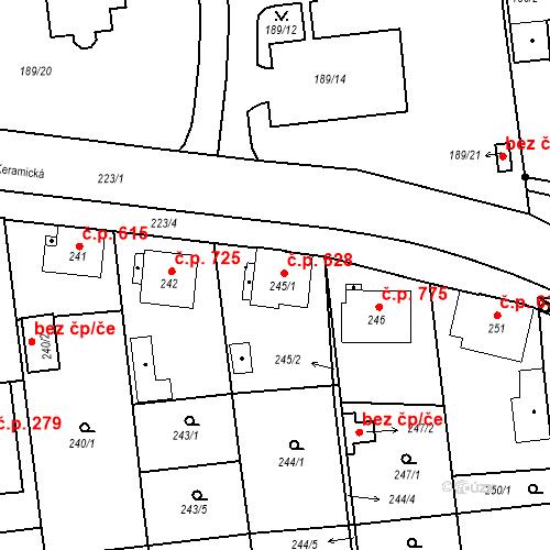 Katastrální mapa Stavební objekt Třemošná 628, Třemošná