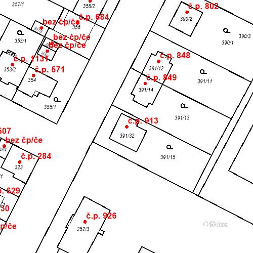 Katastrální mapa Stavební objekt Lobzy 913, Plzeň