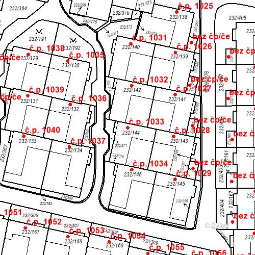 Katastrální mapa Stavební objekt Lobzy 1033, Plzeň
